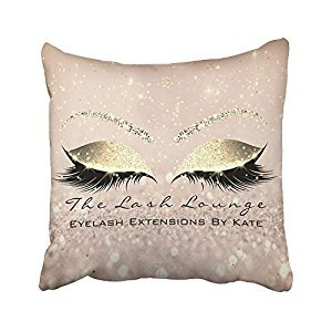 Sneeepee Decorative Pillowcases Vintage Skinny Gold Glitter Pink Makeup Eyes Lashes Beauty 18X18 Inches Throw Pillow Covers Cases Home Decor Sofa Cushion Cover