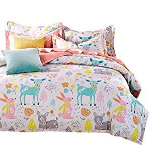 Svetanya Cartoon Deer Printed 3Pcs Duvet Cover Set 400TC 100% Soft Cotton Fabric Bedlinens Twin Size Kids Bedding Sets