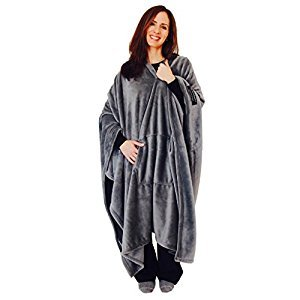 throwbee Blanket-Poncho Wearable Throw Coat for Indoors, Outdoors, Men, Women & Kids, Gray