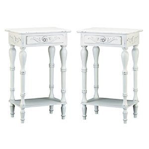 2 CARVED WOOD DISTRESSED WHITE SIDE TABLES WITH DRAWER NIGHTSTAND