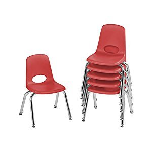 ECR4Kids School Stack Chair with Chrome Legs/Nylon Swivel Glides, 12-Inch Seat Height, 6-Pack, Red