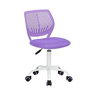 EGGREE Home Office Small Task Desk Chair Adjustable Low Back Children Study Chair Computer Desk Chair with 5 Wheels, Purple