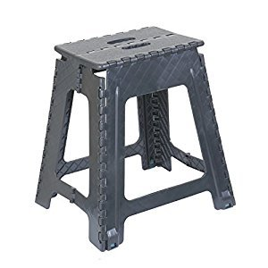 Folding Step Stool 18 Inch (Grey) (Grey)