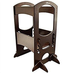 Little Partners Learning Tower Kids Adjustable Height Kitchen Step Stool for Toddlers or Any Little Helper (Espresso)