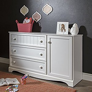 South Shore Furniture Savannah 3-Drawer Dresser with Door, Pure White