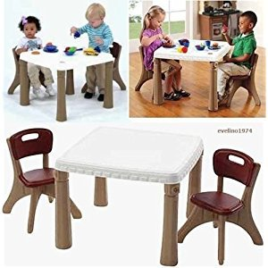 Generic ) Child' Two Person Kitchen-Di Room Furniture oom Furnitur Table and Chairs chen-Dini Set(Tan) Child's e and C Kitchen-Dining and Chairs