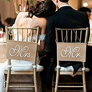 Zehui 1 Set of 2 Burlap Bows Mr. & Mrs Burlap Chair Banner Set Chair Sign Garland Rustic Wedding Party Decoration
