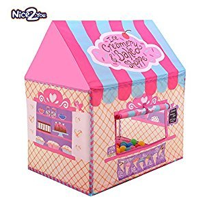 Abplus Pink Portable Kids Tent Princess Castle Baby Sleeping Combo Playhouse Indoor Outdoor Children's Picnic Toys ,Girls Personal Playing Zone (Pink)