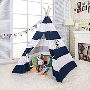AniiKiss 6' Giant Canvas Kids Play Indian Teepee Children Tipi Play Tent - Blue and White Stripes