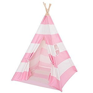 DeceStar Pink Color with Bottom and Window Kids Teepee Indoor Playhouse