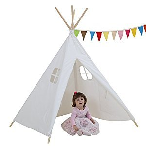 Dream House Indoor Outdoor White Teepee Play Reading Tents Canvas for Kids