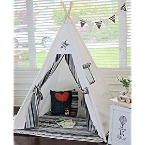 Iloveteepee kids teepee, Shooting Star teepee with poles, mat,flag and storage bag