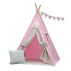Iloveteepee Pink Teepee With Floor, Poles,LED Light, Flags and Storage Bag,Kids Teepee Tent, Play Tent,Girls Room Decor