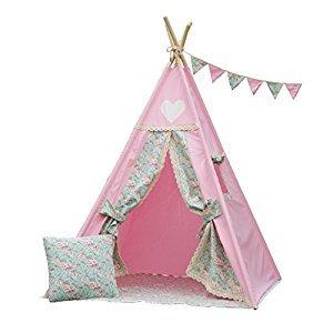 Iloveteepee Pink Teepee With Floor, Poles,LED Light, Flags and Storage Bag,Kids Teepee Tent, Play Tent,Girls Room Decor