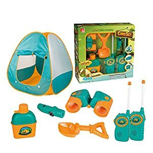 Qiyun Pretend Play 7-Piece Camp Set with Tent for Kid Ages 3 and Up