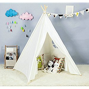 Steegic Foldable Cotton Canvas Indian Teepee Kid Play Tent for Children Playhouse-White