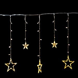 Twinkle Star 12 Stars 138 LED Curtain String Lights, Window Curtain Lights Fairy Lights for Christmas Wedding Party Garden Decorations