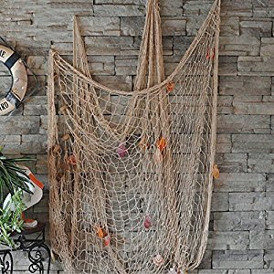 FirstDecor Beige Creative Mediterranean Style Nautical Fishing Net With Shells Seaside Beach Party Wall Decoration