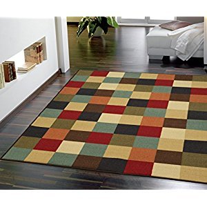 Ottomanson Ottohome Contemporary Checkered Design Modern Area Rug with Non-SkidRubber Backing, 5'0