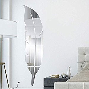 Revesun Sliver 2016 new Arrival DIY 3D Modern Feather Dressing Acrylic Mirror Stickers Stereoscopic Entrance Room Decor