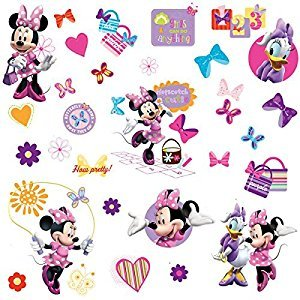 RoomMates RMK1666SCS Mickey and Friends, Minnie Bow-Tique Peel and Stick Wall Decals