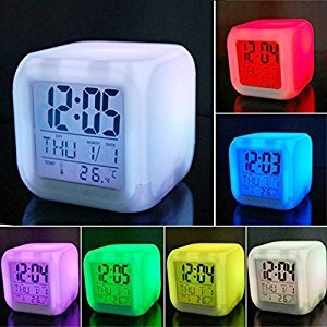 Vinmax 7 LED Color Change Digital Alarm Thermometer Clock with LCD Display Night Glowing Cube for Valentine's Day