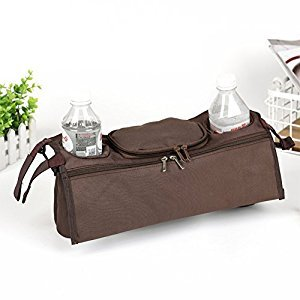 Amyove Storage Bag Universal Multifunctional Baby Stroller Organizer Baby Pram Buggy Cart Bottle Rear Hanging Basket Storage Bag Brown