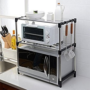 Rack 2 Tiers Stainless Steel Microwave Oven Rack Double Layers Storage Shelves for Kitchen Room Living Room ( Color : Black 1 )