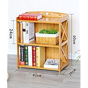 Rack Bamboo Shelves Living Room / Bedroom / Kitchen Storage Rack Simple Bookshelf 2 Tiers ( Size : 42cm )