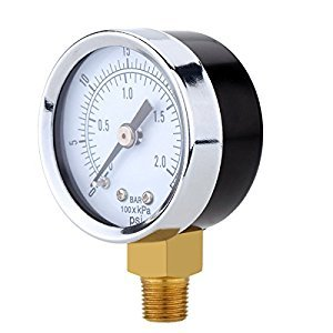 UEETEK Utility Vacuum Pressure Gauge for Air Compressor Water Oil Gas 0-30PSI
