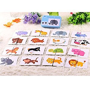 32pcs Baby Flash Card Jigsaw Cognition Puzzle Shape Matching Puzzle Toys for Toddlers and Kids,Cartoon Animals Card Cognition Learning Early Education Box for Boys & Girls Gift