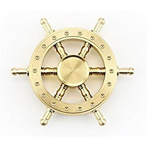 iSpnOmatic – Premium Quality Ship Navigator Wheel Style pure Copper Spinner with unique altering spoke design fitted with industrial spec R188 bearing and comes with Case for Stress Relief Toy