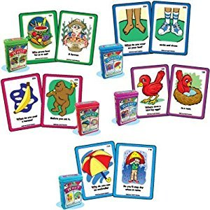 "Ask and Answer ""WH"" Questions Five Flash Card Decks Combo - Super Duper Educational Learning Toy for Kids"