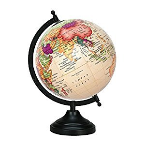 Beige 13 Big Rotating Decorative Globe Ocean World Geography Earth Table Decor