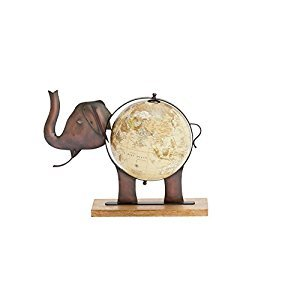 Benzara Deco 79 42132 Metal Wood Elephant Globe, 17