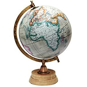 MasterpieceIndia Antique Wooden Rotating Globe Decorative Home Decor Education TableTop Earth(Globe Circumference: 25.2