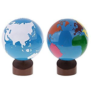 MonkeyJack Montessori Baby Kids Toys Colored Globe and Land&Water Globe for Early Childhood Education