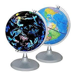 New 3-in-1 Illuminated USB World Globe Constellation Glowing Starry Sky,With World Map LED Lights,Home Decor Educational Gifts
