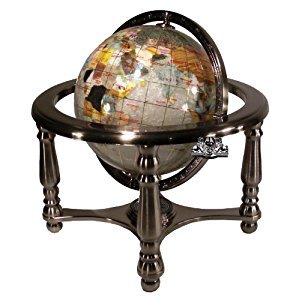 Unique Art 150-GB-PEARL-SILVER 10-Inch Tall Pearl Swirl Ocean Gemstone World Globe with 4 Leg Silver Stand