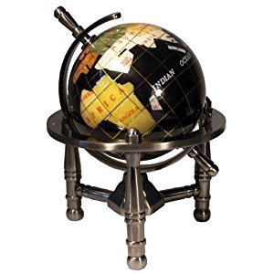 Unique Art 80-GT-BLACK-SILVER 6-Inch by Black Onyx Ocean Mini Table Top Gemstone World Globe with Silver Tripod