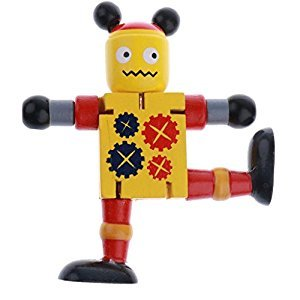 Baoblaze Novel Wooden Robot Finger Puppets Push Puppets Classic Wooden Games Toy Developmental
