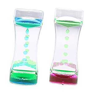 Dovewill 2 Pieces Liquid Timer Sensory Play Motion Visual Bubble Gravity Science Toy Blue Green & Green Purple