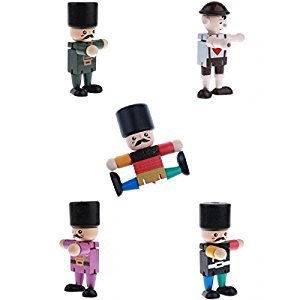 Homyl 5pcs Wooden Walnut Finger Puppets Doll Soldier Flexible Joints Poseable Desk Toys Baby Developmental Gifts