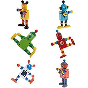 Homyl 6pcs Wooden Walnut Finger Puppets Doll Robots Flexible Joints Poseable Toys Set Baby Developmental Gifts
