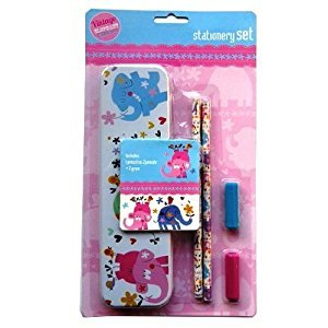 Girls Stationery Set - Tin Pencil Case, 2 Pencils, 2 Grips -