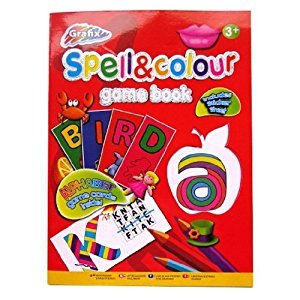Spell & Colour - Educational Activity Game Book - Includes Sticker Sheets - Size 279mm x 208mm