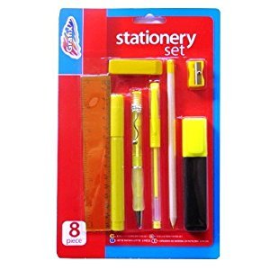 Stationery Set 8 Piece - Ruler, Marker, Gel Pen, Ball Pen, Pencil, Highlighter, Eraser & Sharpener