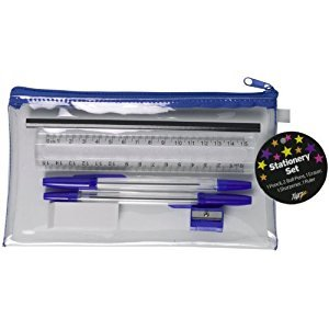 Stationery Set - Clear Pencil Case, 2 x Pens, 1 x Ruler, Pencil, Sharpener & Eraser.