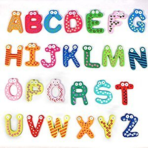 Lookatool Colorful Cute 26 Letters Wooden Cartoon Fridge Magnet kid's Baby Educational Toy