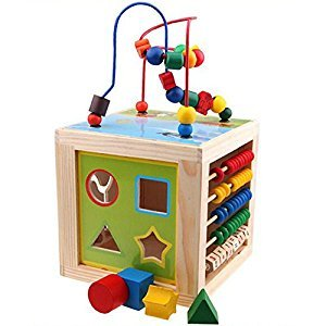 Elisona-Kids 5 in 1 Educational Wooden Toy Around Beads Toys Maze Beads Abacus Shape Match Games Clock Toy for 1-3 Years Old Kids
